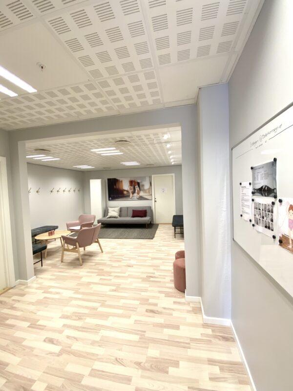 Balletskolen i Hørsholms omklædningsrum med bænke, knager, sofaer og tekøkken