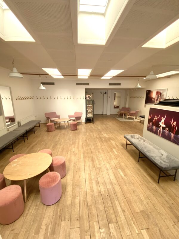 balletskolen i Skovshoveds omklædningsrum med bænke, knager, hylder, borde og stole